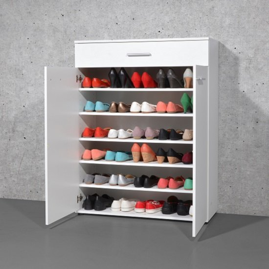Stewart Shoe Storage Cabinet In White With 2 Doors_2