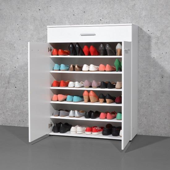 stewart shoe storage cabinet in white with 2 doors 23862