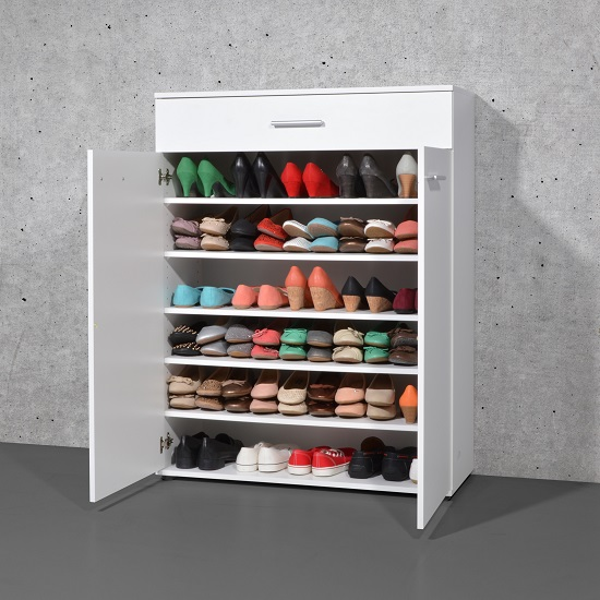 Stewart Shoe Storage Cabinet In White With 2 Doors 23862