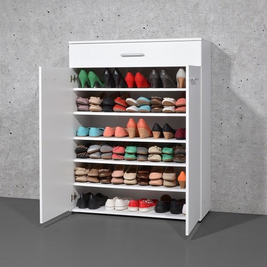 Stewart Shoe Storage Cabinet In White With 2 Doors_3