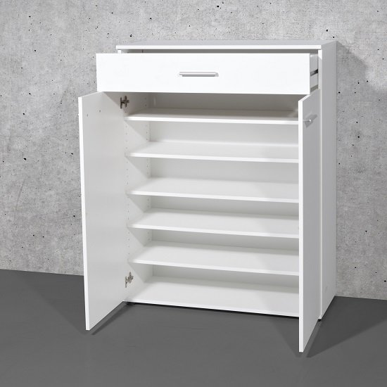 ... Stewart Shoe Storage Cabinet In White With 2 Doors_4