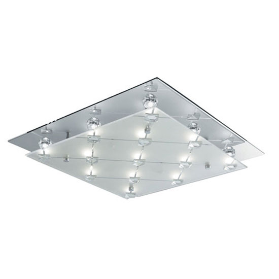 LED Square Flush Frosted and Clear Glass Shade Ceiling Light