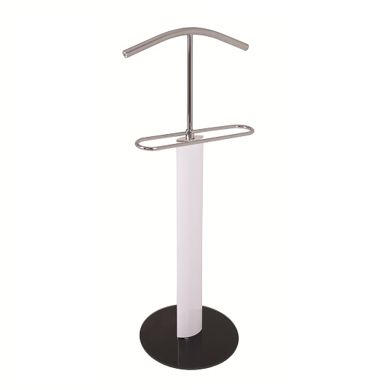 Maike Valet Stand In Chrome And White Gloss With Black Glass