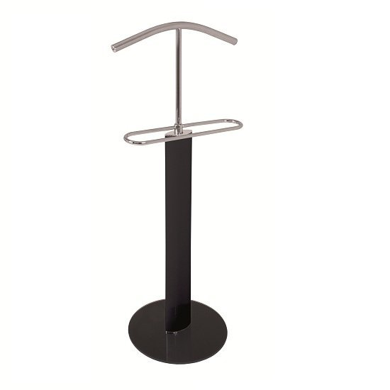 Maike Valet Stand In Chrome And Black Gloss With Black Glass