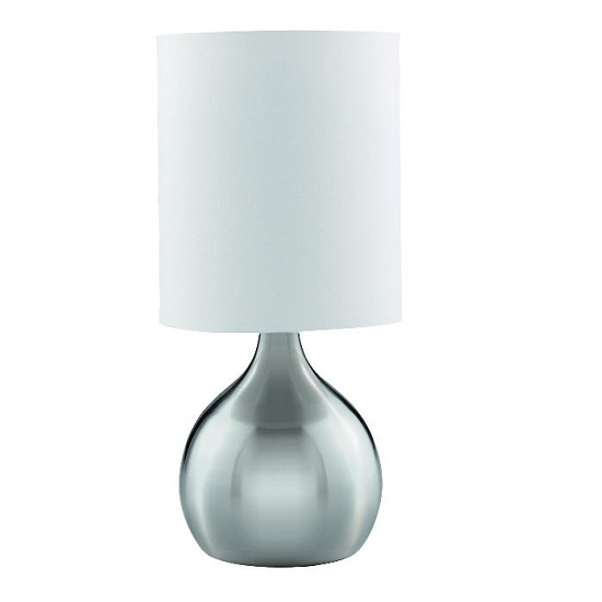 Modern Satin Silver Touch Table Lamp With White Fabric Shade