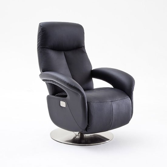limburg recliner chair in black leather and stainless steel. Black Bedroom Furniture Sets. Home Design Ideas