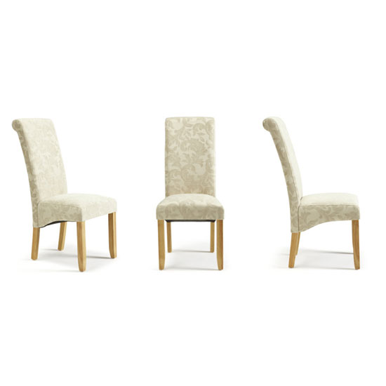 Ameera Dining Chair In Floral Cream Fabric And Oak in A Pair_4