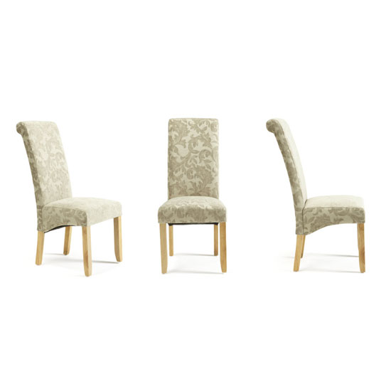 Ameera Dining Chair In Floral Sage Fabric And Oak in A Pair_4