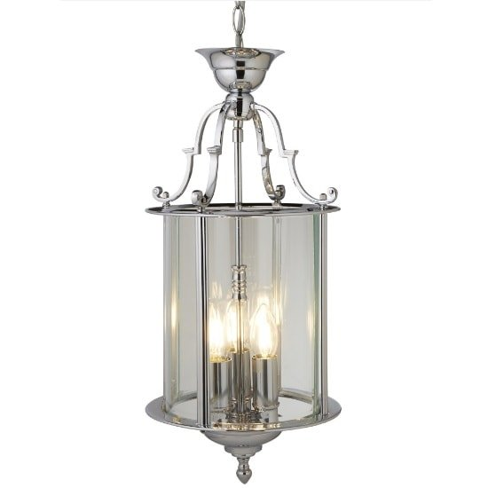 Chrome 3 Light Lantern With Bevelled Glass Shade