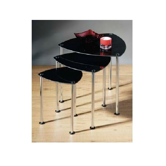 3pc Nesting Tables In Black Gl And Chrome