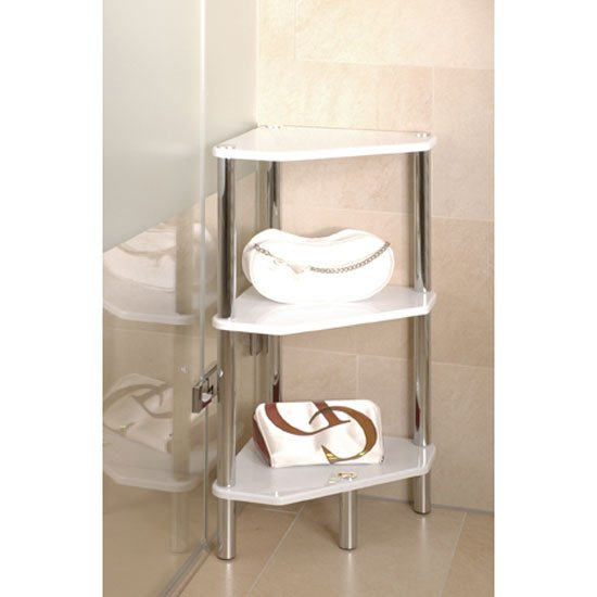3 tier high gloss white corner display unit 90346 5036 - White bathroom corner shelf unit ...