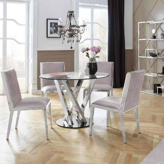 Get fashionable and modern 4 seater glass dining table sets in beautiful round, rectangle and square shapes