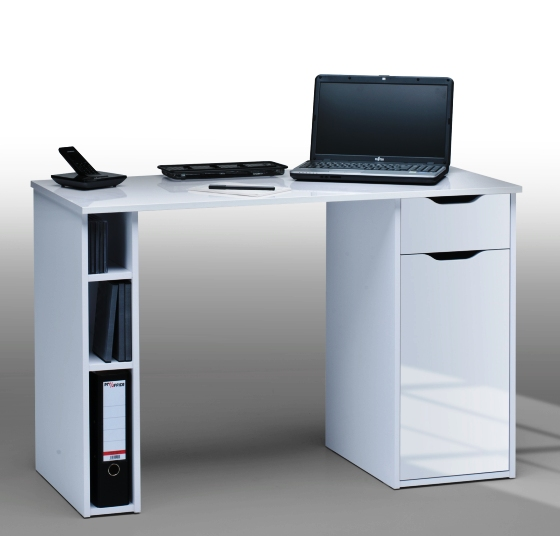 Medera Computer Work Station In White Wood And White Gloss