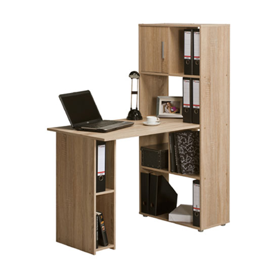 alfie sonoma oak finish computer desk with shelves 22885. Black Bedroom Furniture Sets. Home Design Ideas
