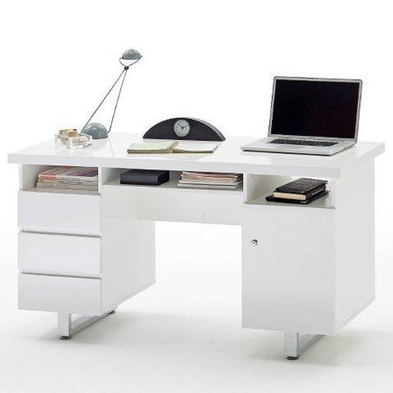 Read more about Sydney computer desk in high gloss with 3 drawers and 1 door