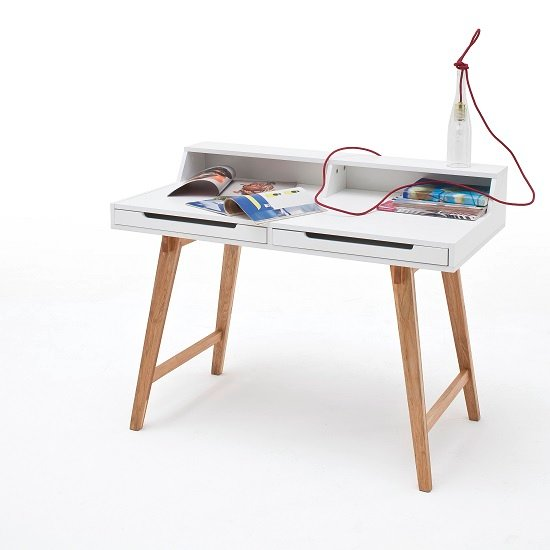 Coupar Laptop Desk In Matt White With Solid Beech Legs_2