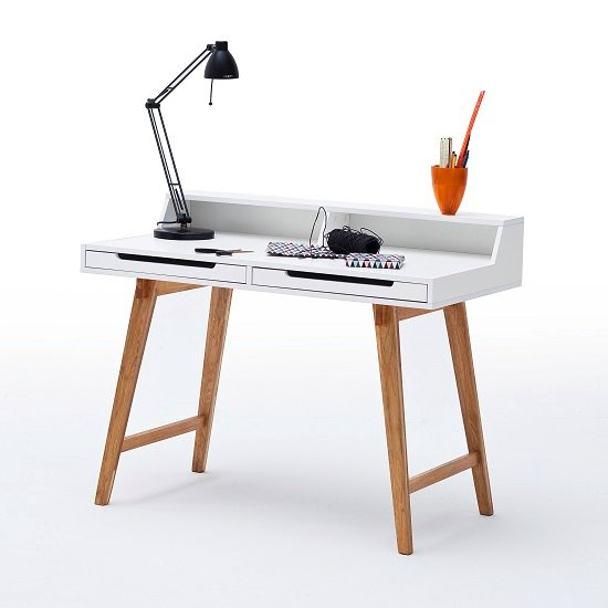 Coupar Laptop Desk In Matt White With Solid Beech Legs_3