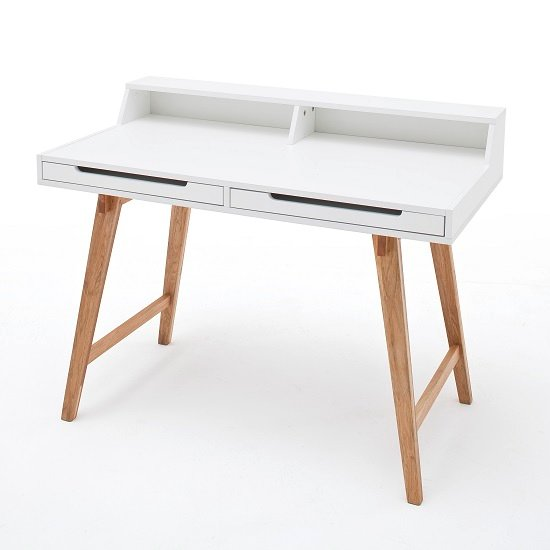 Coupar Laptop Desk In Matt White With Solid Beech Legs_4