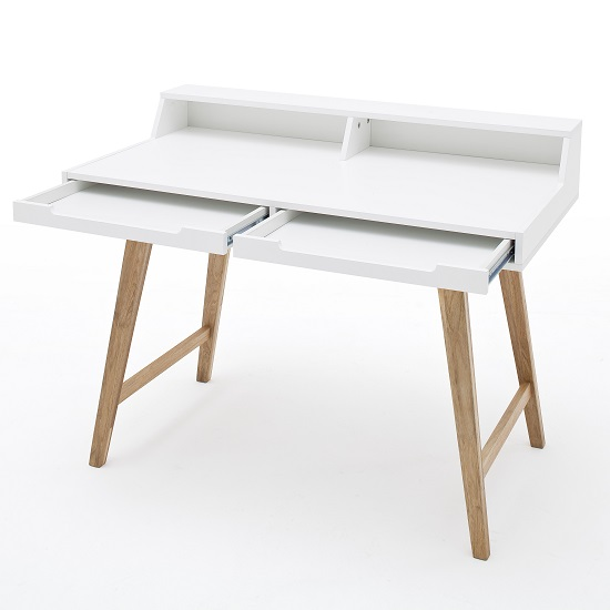 Coupar Laptop Desk In Matt White With Solid Beech Legs_5