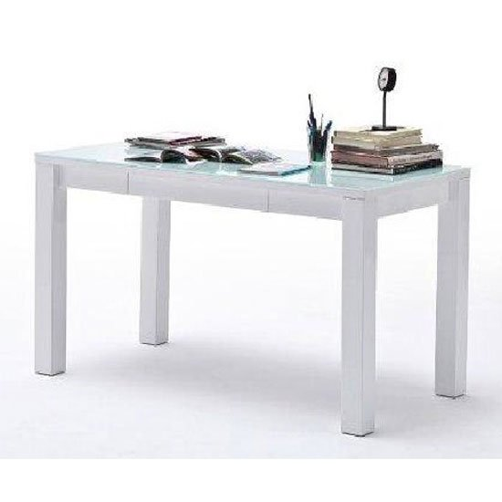 Mateo 2 Computer Desk In High Gloss With Top Glass And 1