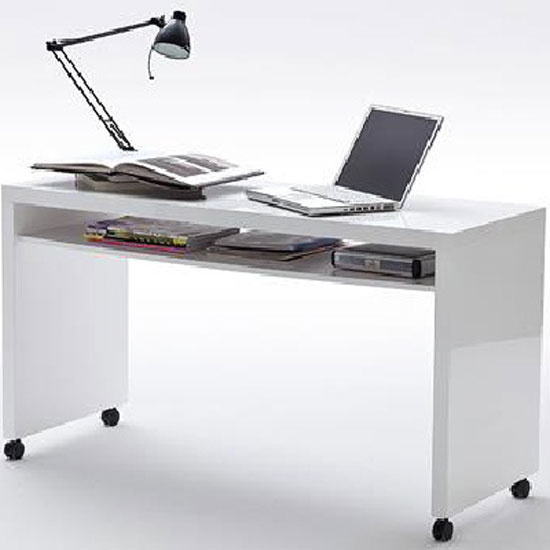 Read more about Mike computer desk in high gloss finish with wheels and 1 shelf