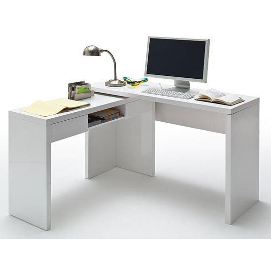Read more about Malte and mike high gloss finish corner computer desk in white