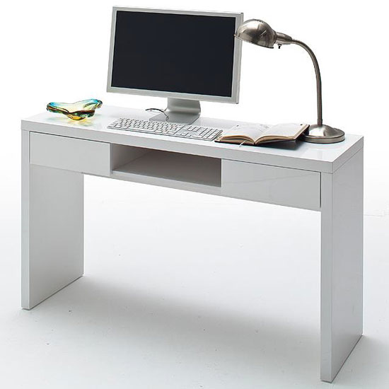Read more about Malte computer desk in high gloss with 2 drawer and shelf