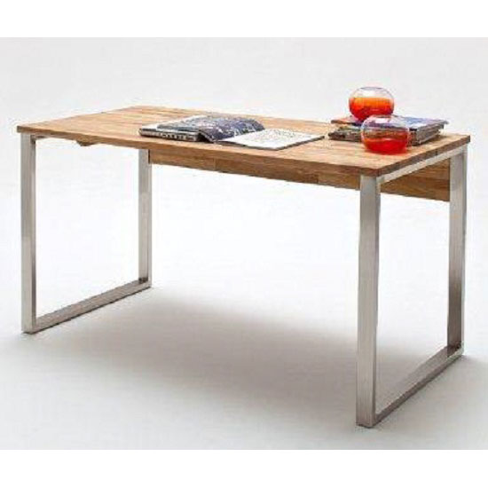 Lucy Knotty Oak Computer Desk With Chrome Legs