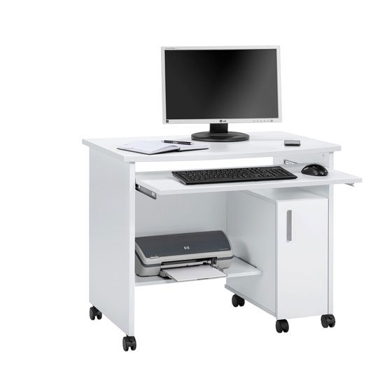 Websurfer puter Desk In Icy White With 1 Door And