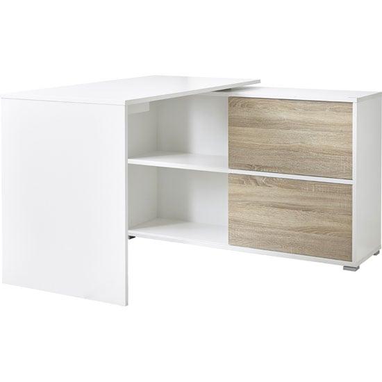 View Slide home office corner computer desk in white and sonoma oak