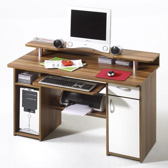 mauro walnut finish computer desk with shelf on desk top 221. Black Bedroom Furniture Sets. Home Design Ideas