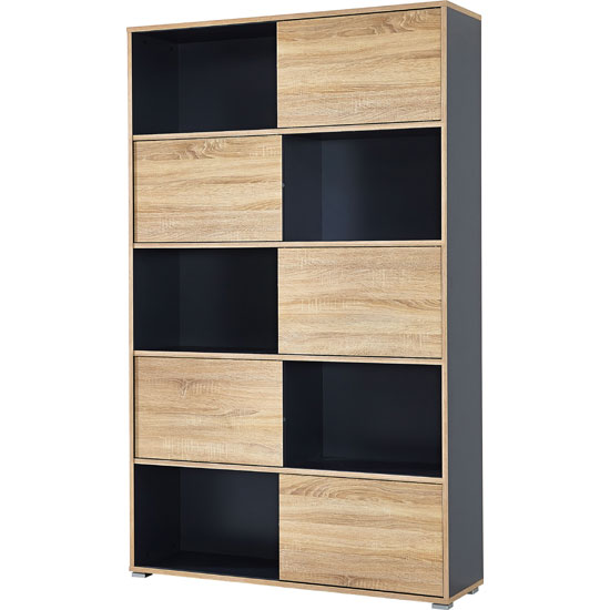 Slide Shelving Unit In Anthracite With 5 Oak Sliding Door