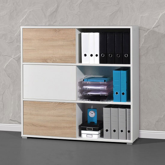 Slide Shelving Unit In White And Sonoma Oak With 3 Sliding