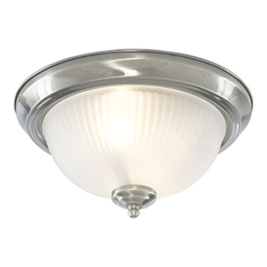 Chrome 2 Lamp Bathroom Ceiling Light With Opaque Ribbed Gl