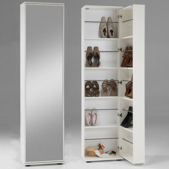 Wooden shoe storage cabinet with mirror in white 4961 for Zapateras de madera