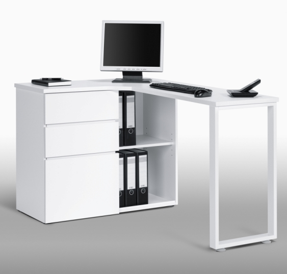 Lacy wooden corner computer desks in white with storage - Small corner desk with storage ...