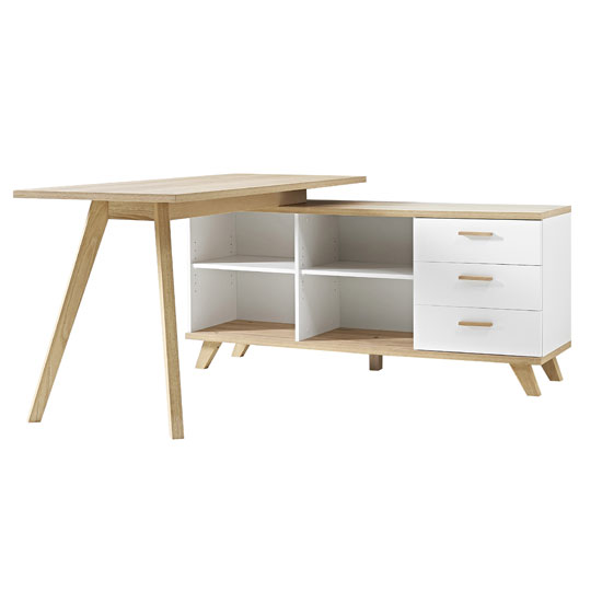 Ohio Rotating Corner Computer Desk In White And Solid Oak