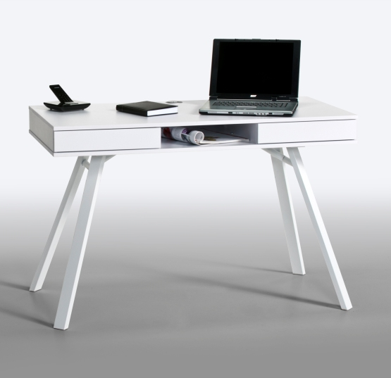 Read more about French laptop office desk in white with drawers and metal legs