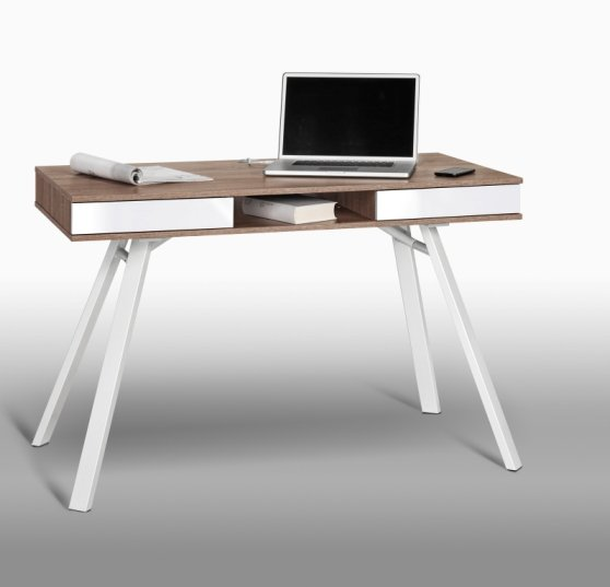 Read more about French laptop office desk in white and sanoma oak with drawers