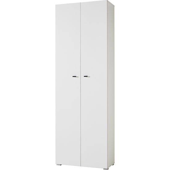 Montreal Tall Home Office Cabinet In White With 2 Doors