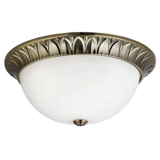 3 Lamp Antique Brass Flush Ceiling Light With Opal Glass