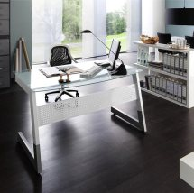 Pico Clear And Frosted Glass Computer Desk With Metal Legs