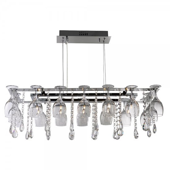Vino 10 Lamp Chrome Crystal Ceiling Light With Wine Glass Trim