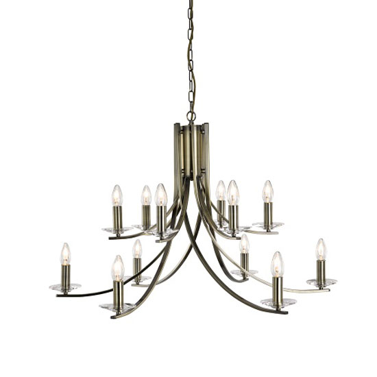 Sierra 12 Lamp Antique Brass Ceiling Light With Glass Sconces
