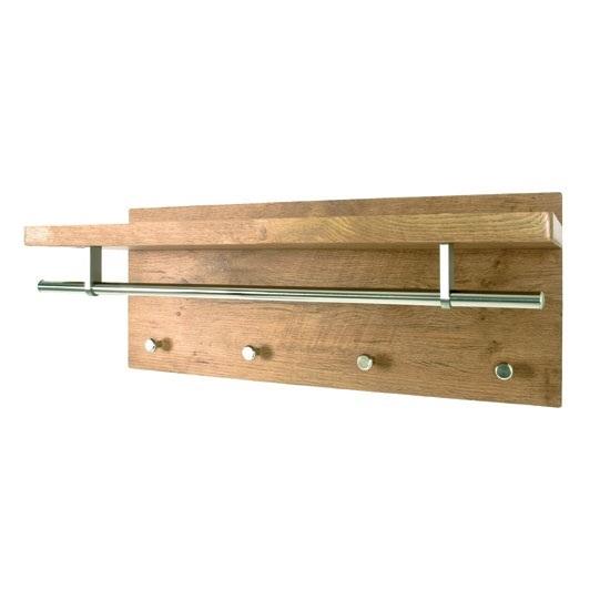 Pablo 3 Wild Oak Wall Mounted Coat Rack With Shelf