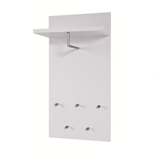 Paolo Wall Mounted Coat Rack In White High Gloss With 5 Hooks