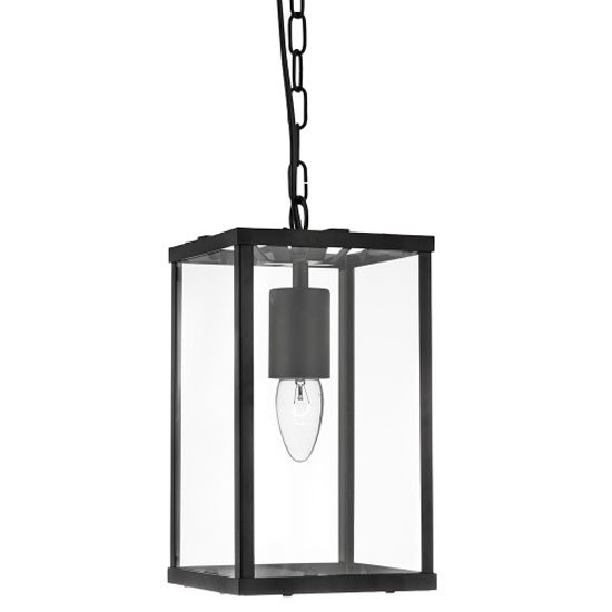 1 Light Rectangular Black Lantern Pendant With Clear Glass