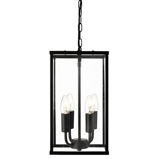4 Light Rectangular Black Lantern Pendant With Clear Glass