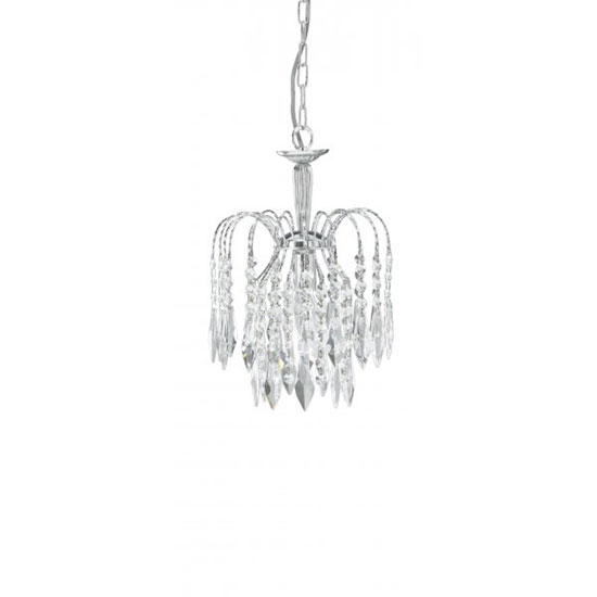 Waterfall Chrome Crystal Ceiling Pendant With Crystal Drops