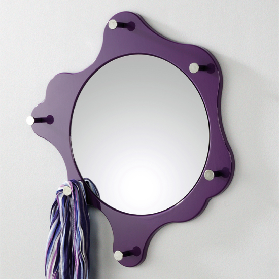 Photo of Big nancy purple coat hat rack in high gloss with mirror